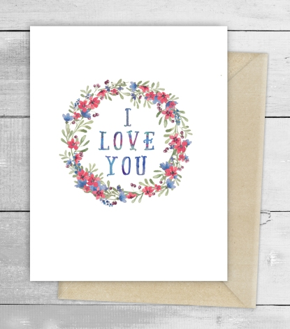 I love you watercolour card