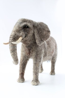 Made To Order, Needle Felted Elephant Sculpture, African Elephant Sculpture