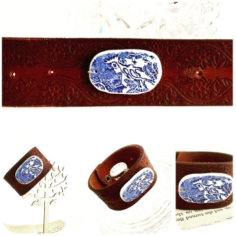 Patterned leather, upcycled belt cuff with vintage willow pattern plate hand carved pendant detialing