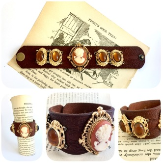 gorgeous upcycled vintage costume jewellery (cameo opens up to reveal original solid perfume), upcycled leather cuff