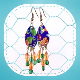 SOLD - Vintage tin earrings with 1970's costume jewellery beads