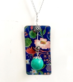 SOLD Vintage tin and 1970's costume jewellery pendant on sterling silver chain