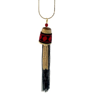 Croatian thimble with tapestry and vintage chain tassels