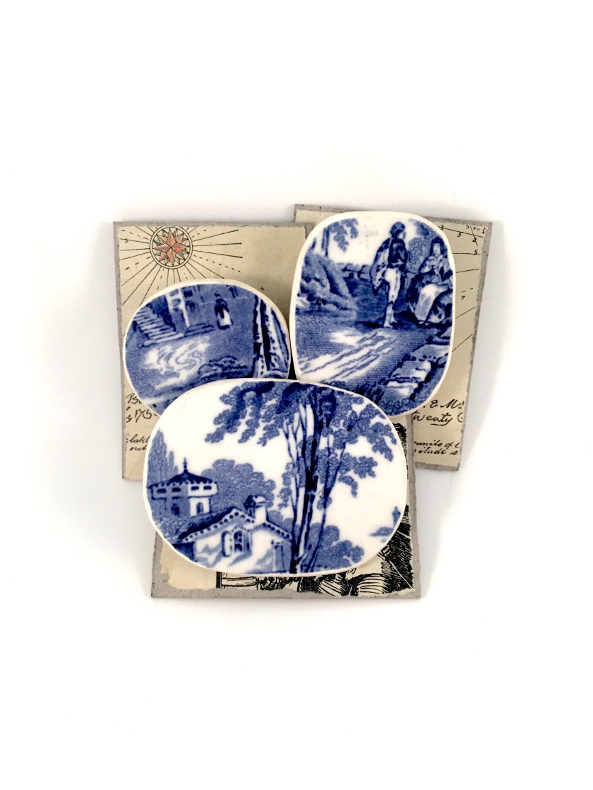 Upcycled Willow pattern handcarved brooches